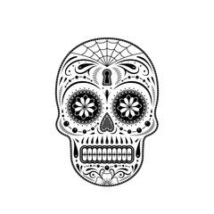 Graphic illustration of a stencil decorative sugar skull. Day of the dead skull. Stencil pattern.
