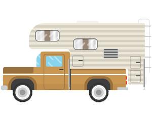 Old Pickup caravan on a white background. House-trailer. Vector illustration