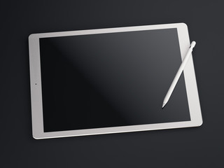 Big white drawing tablet. 3d rendering