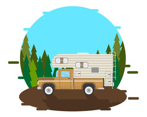 Pickup caravan off-road in forest. House-trailer. Vector illustration