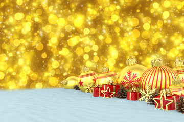 many golden christmas baubles and christmas decorations over blue bokeh background - merry christmas concept