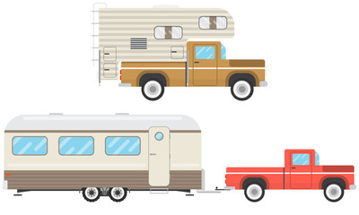 Set of houses on wheels on a white background. House-trailer. Vector illustration