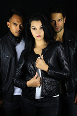 book cover for a vampire novel . three attractive vampires