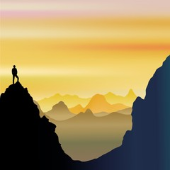 Acrylic Prints Draw On Top of the World - Lonely Man on Mountains Landscape