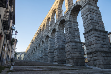 Segovia, Spain - October 14, 2017: Roman Aqueduct in the Morning Light