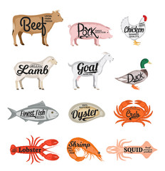 Vector farm animals and seafood collection. Butcher shop and seafood shop icons