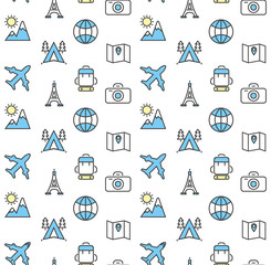 Holidays and travel vector icons set.