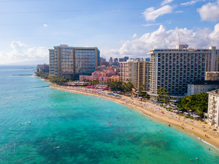 Amazing aerial view of the Diamond Head by the park and Waikiki beach. Together with the Honolulu city skyline