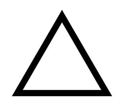 Triangle up arrow or pyramid line art vector icon for apps and websites