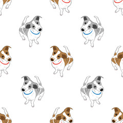 Seamless pattern with cute hand drawn outline standing spotted dog isolated on a white background