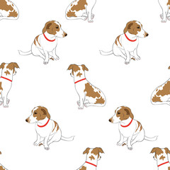 Seamless pattern with cute hand drawn outline sitting spotted dog isolated on a white background