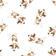 Seamless pattern with cute hand drawn outline lying resting spotted dog isolated on a white background