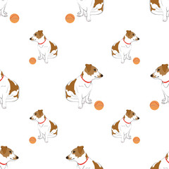 Seamless pattern with cute hand drawn outline sitting spotted dog with bright orange striped ball isolated on a white background