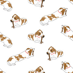 Seamless pattern with cute hand drawn outline lying and gnawing bone spotted dog isolated on a white background