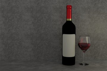 3D rendering of red wine glass and bottle