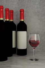 3D rendering of red wine glass and bottles