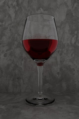 3D rendering of red wine glass on rustic background