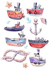 Set of cartoon boat.