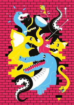 Animals Break Through Wall