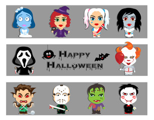 Halloween characters set. A vampire bride, a werewolf, a zombie.