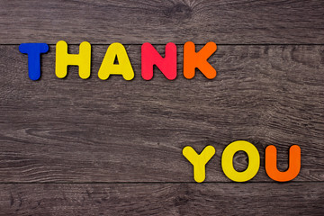 Words Thank you from wooden letters