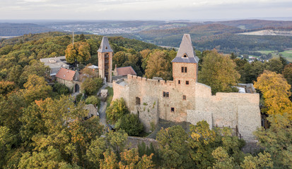 Aerial view of Frankenstein Castle in southern Hesse, Germany