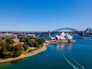Aerial Sydney view with the Opera house right by the Sydney harbour. Beautiful town. Australia.