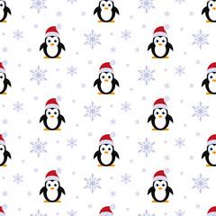 Penguin in Santa hats. Snowfall. Seamless pattern. Vector. Flat.