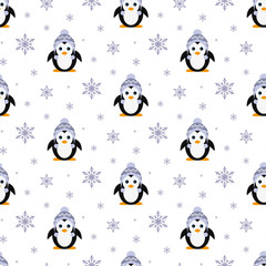 Penguin in a knitted hat. Snowfall. Seamless pattern. Vector. Flat.