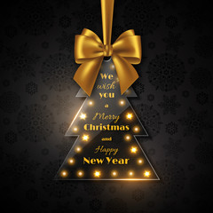 Merry Christmas and Happy New Year holiday design. Transparent glossy Christmas tree with golden bow, black background, snowflake pattern. Vector illustration.