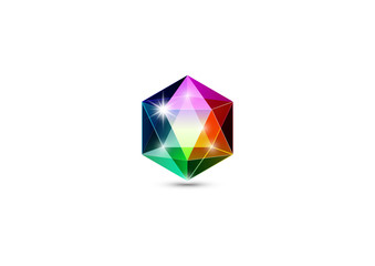 Colorful gemstone, logo jewels and crystals, 3D rendering illustration isolated
