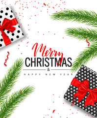 Christmas sale poster with gift boxes, serpentine and tree branches on white background. Vector illustration for website and banners, posters, ads, coupons, promotional material