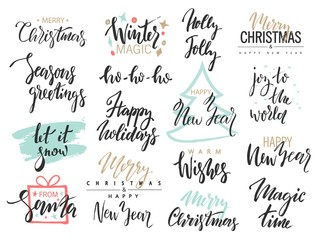 Set of Merry Christmas text, hand drawn lettering and Happy New Year typography design. For cards, invitations, posters, flyers, logos, emblems.