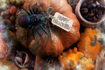 happy Halloween traditional holiday table ornament decoration. space for text