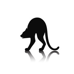 Silhouette of a playing cat.