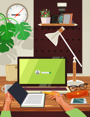 Top view workplace. Vector flat cartoon illustration