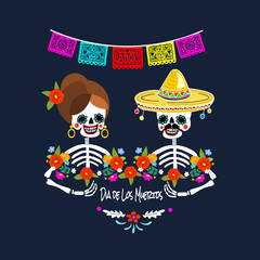 Mexican Dia de los Muertos (Day of the Dead) skeleton couple, greeting card, vector illustration.