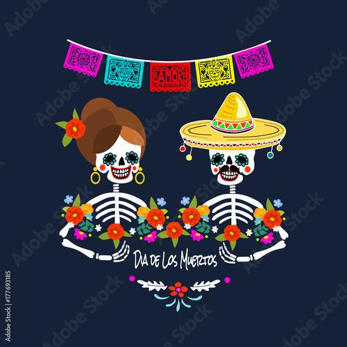 Mexican dia de los muertos day of the dead skeleton couple mexican dia de los muertos day of the dead skeleton couple greeting card m4hsunfo