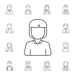 Schoolgirl avatar. Set of avatar icons