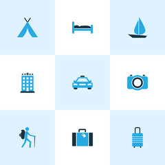 Exploration Colorful Icons Set. Collection Of Suitcase, Tent, Hotel And Other Elements. Also Includes Symbols Such As Shelter, Motel, Tent.