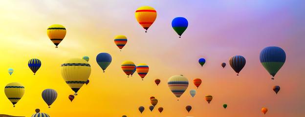 Poster Ballon many hot air balloon landing