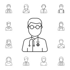 Doctor avatar. Set of avatar Icons