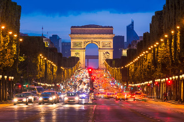 Wall Murals Paris Champs Elysees and Arc de Triomphe, Paris