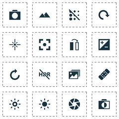 Image Icons Set. Collection Of Mode, Capture, Filtration And Other Elements. Also Includes Symbols Such As Photo, Apparatus, Camera.