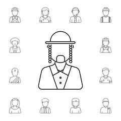 Man Ortodox Jew avatar. Set of avatar icons