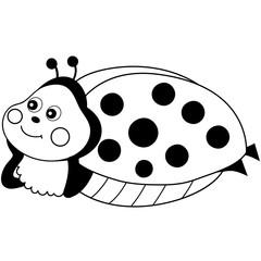 Vector Cute Cartoon Ladybug Resting