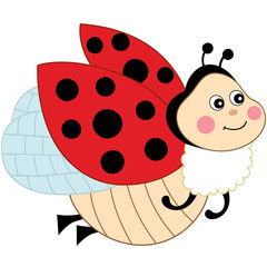 Vector Cute Cartoon Ladybug Flying