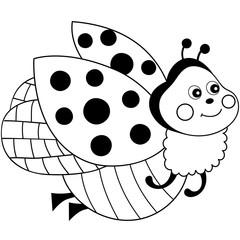 Vector Cute Cartoon Ladybug Flying