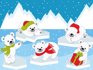 Vector Set of Cute Cartoon Polar Bears