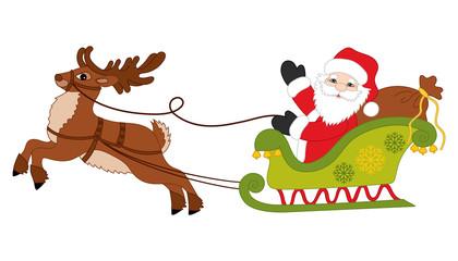 Vector Christmas Santa Claus and Reindeer Sledge